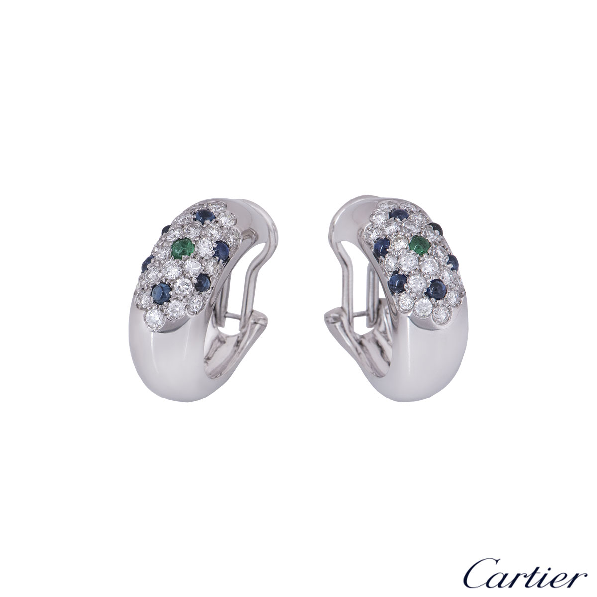 Cartier White Gold Diamond, Sapphire and Emerald Earrings